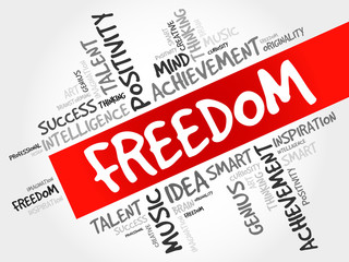 Freedom word cloud, business concept