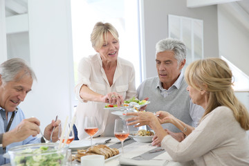 Group of senior people having lunch together at home