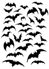 Bats silhouettes set. Illustration fantasy bats silhouettes for halloween works
