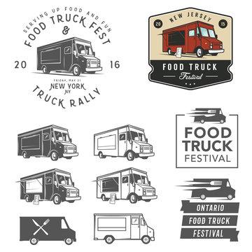 et of food truck festival emblems, badges and design elements