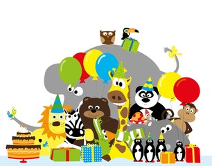 group of happy animals with balloons , birthday hats and birthday cake