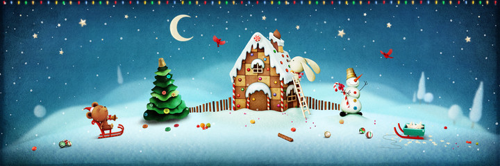 Illustration  with objects Christmas with gingerbread house and Christmas tree