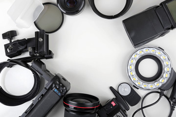 top view of photo lenses and equipment