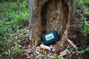 Geocaching and geocache box