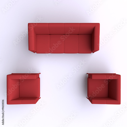 Quot Sofa And Two Chairs Top View 3d Illustration Quot Stock