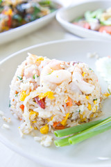 Fried rice with big shrimps, Thai food
