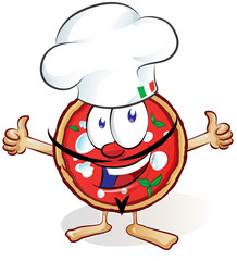 .fun pizza cartoon with hat and thumb up