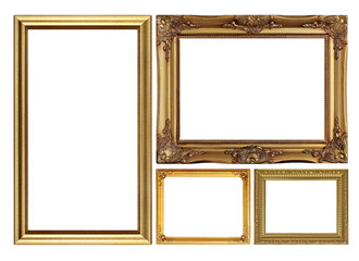antique golden picture frame isolated on white