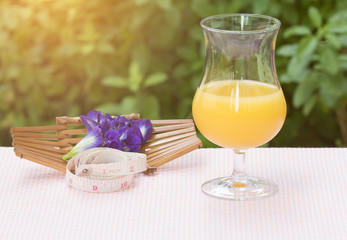 Passion fruit juice for health with diet concept in vintage tone