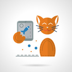 Flat color vector icon for cat with phone.