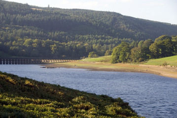 Lower Derwent reservoir and aqueduct, Upper Derwent Valley, Peak District, Derbyshire, UK