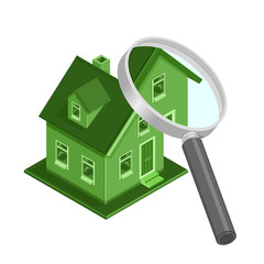 Isometric Eco Friendly House inspection - A vector illustration of an ECO friendly home being examined with a magnifying glass.