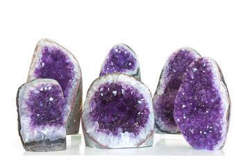 Fototapete - Set of amethyst crystal