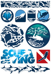 Scuba diving editable vector  elements