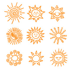 Set of doodle sun icons. Vector illustration.