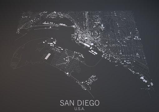 Cartina San Diego, vista satellitare, sezione 3d, Stati Uniti