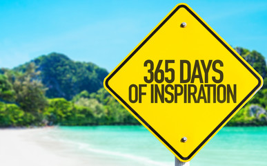 365 Days of Inspiration sign with beach background