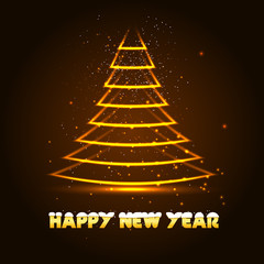 Happy New Year vector illustration with Xmas tree, glowing in