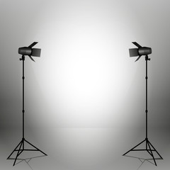 Empty photo studio with spotlights. Vector illustration. Grey backdrop.