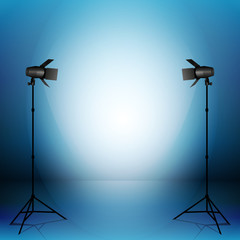 Empty photo studio with equipment. Vector illustration.