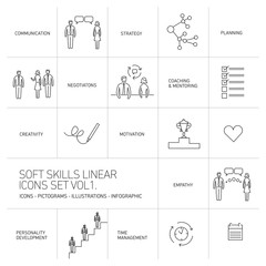 Soft skills vector linear icons and pictograms set black