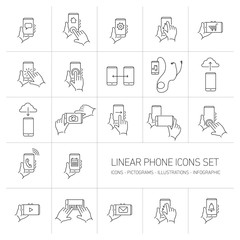 Vector linear phone and technology icons set with hand gestures
