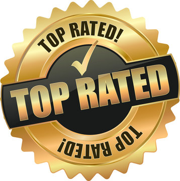 golden shiny vintage top rated *3D vector icon seal sign