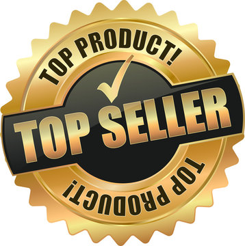 golden shiny vintage top seller *3D vector icon seal sign