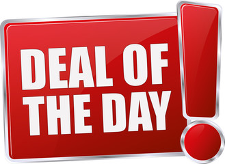 modern red glossy deal of the day 3D vector icon