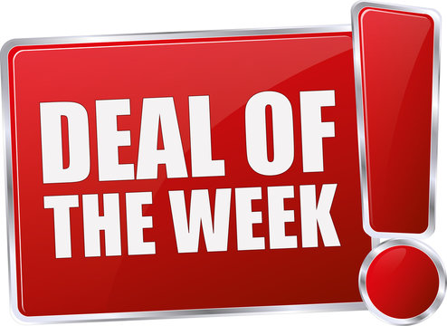 modern red glossy deal of the week 3D vector icon