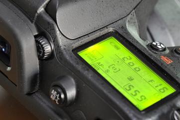 Closeup of professional digital camera.