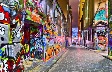 Aluminium Prints Oceania View of colorful graffiti artwork at Hosier Lane in Melbourne