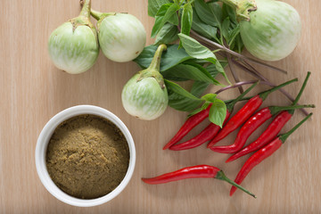 Green curry paste in white cup on wood background.