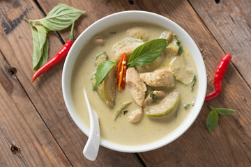 Green curry chicken, Thai cuisine.