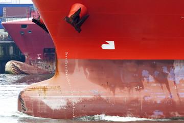 Wulstbug eines Frachtschiffes