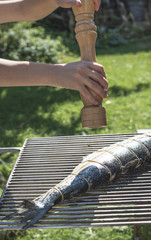 Raw salmon fish on grill