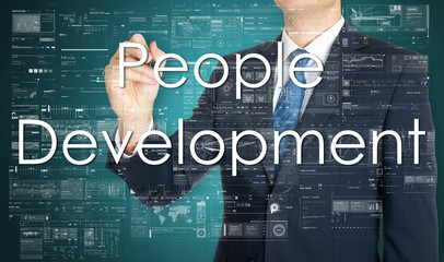 business man writing people development concept