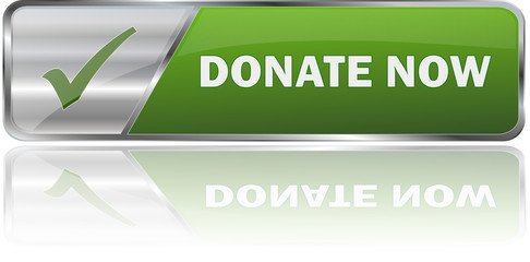 DONATE NOW / realistic modern glossy 3D eps vector banner in green with metallic border and checkmark
