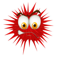 Red thorn ball with angry face.