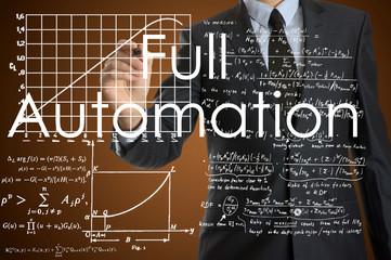 businessman writing technological terminology on virtual screen