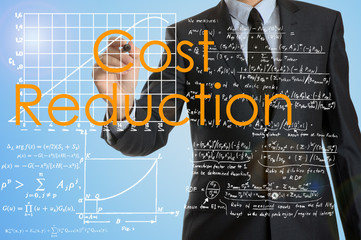 businessman writing Cost Reduction and drawing graphs and diagra