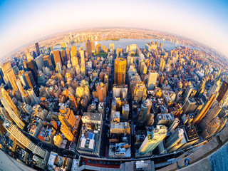 Aerial view of New York City at sunset Wall mural