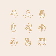 Vector set of icons in trendy linear style related to religion and peace - hands and fingers
