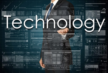 businessman presenting Technology text and graphs and diagrams