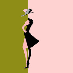Abstract sketch of the model in a dress and hat, fashion, logo
