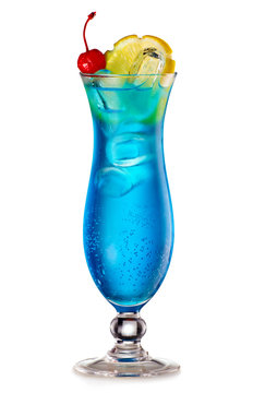 Blue Lagoon cocktail with a slice of lemon and cherry