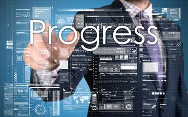 businessman presenting progress text on business background