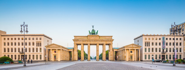 Brandenburger Tor at Pariser Platz at sunrise, Berlin, Germany