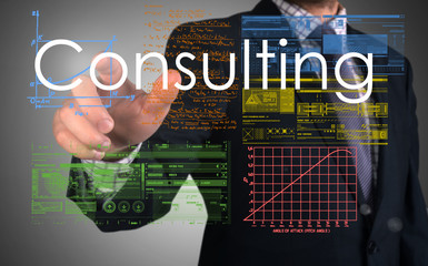 businessman presenting Consulting concept and drawing some sketc