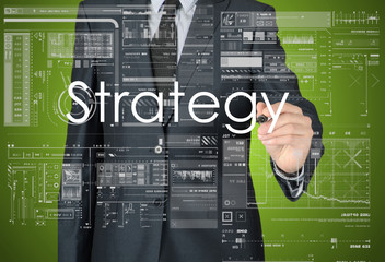 businessman writing business strategy concept